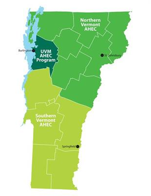 Map of Vermont showing AHEC regions