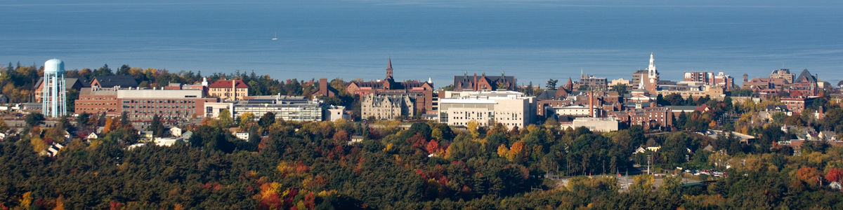 Aerial view of UVM and Lake Champlain