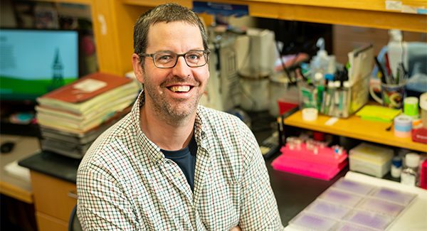 Brian Cunniff in his lab at UVM