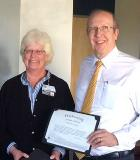 Cathy, Dean Jensen and certificate
