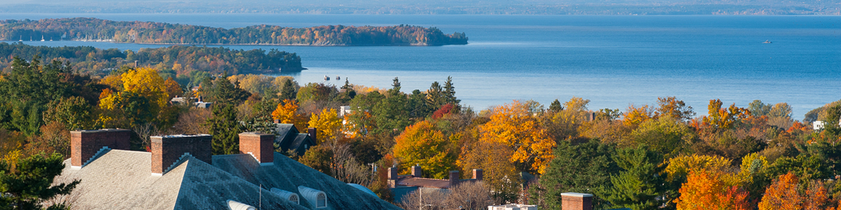 Aerial view of trees and Lake Champlain in autumn
