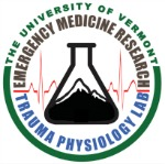 Trauma Physiology Lab Logo with Beaker containing image of a mountain and heart beat graph in background