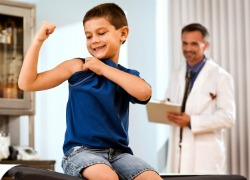 Boy Dr Exam Shows Muscle