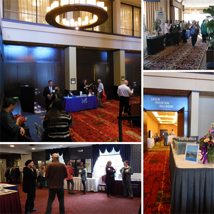 Several views of exhibitors at CMIE conferences