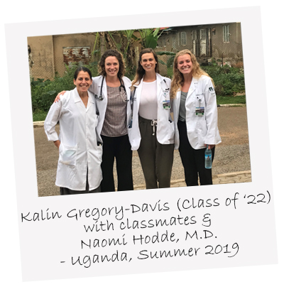 UVM Larner College of Medicine class of 2022's Kalin Gregory Davis poses with classmates from the College and Dr. Naomi Hodde during Summer 2019 global health elective trip to Uganda