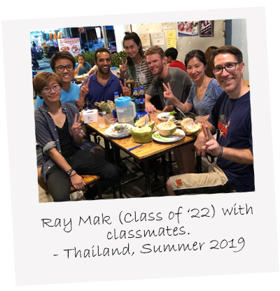 Class of 2022's Ray Mak with Classmates in Thailand