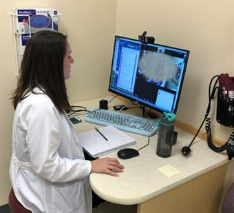 Kaitlyn Barrett, DO, second year Endocrinology Fellow (pictured during a telemedicine patient visit)