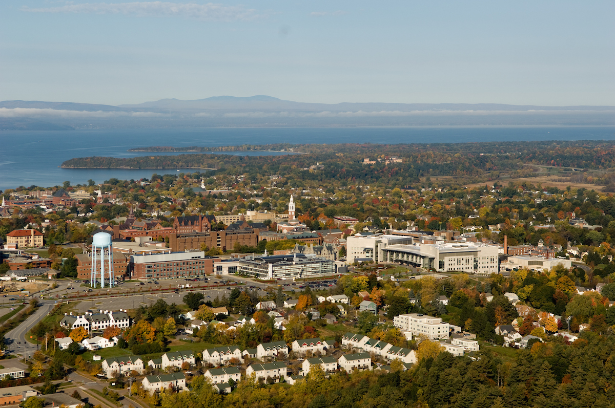 UVM Campus with Lake Champlain in the background