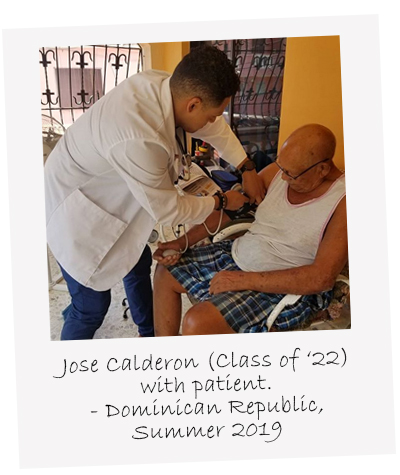 Class of 2022's Jose Calderon with patient in the Dominican Republic