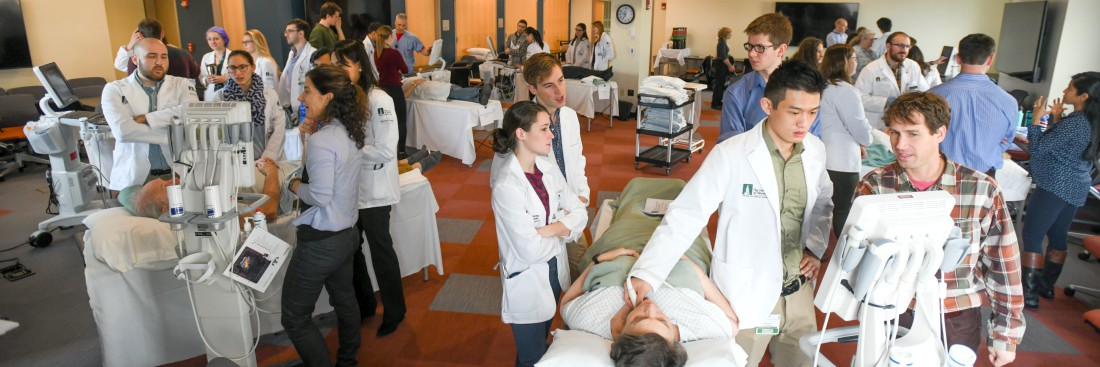 students performing point of care ultrasound