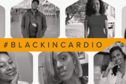 Photos of organizers of #BlackInCardio with text that reads #BLACKINCARDIO