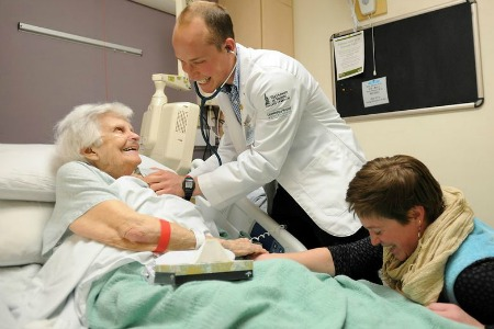 Medical student participating in patient visits
