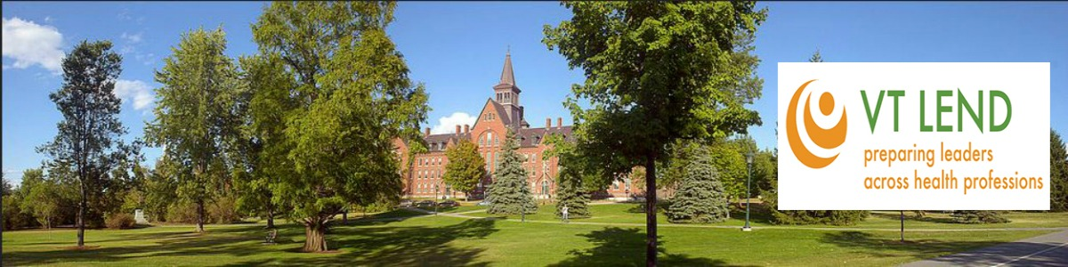 Banner image: UVM campus and VT LEND logo