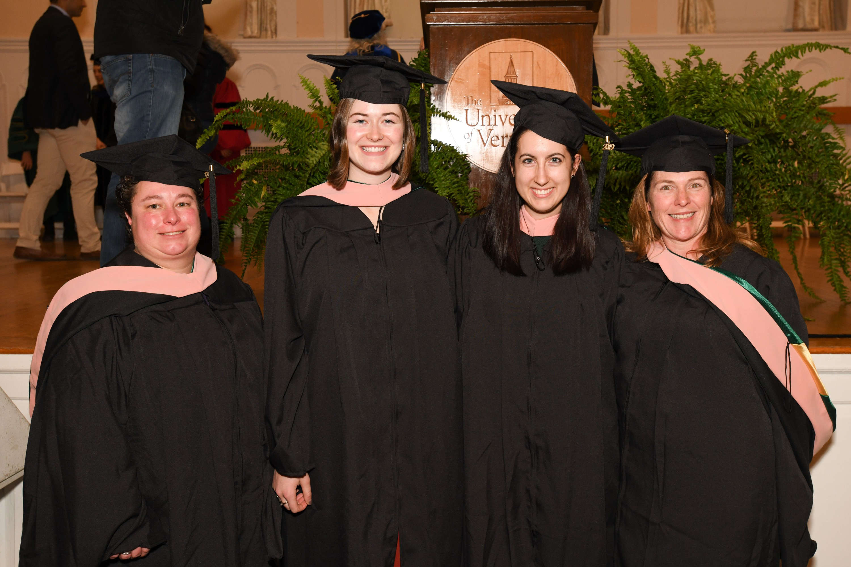 Four UVM Larner College of Medicine Master of Public Health Graduates Pose at UVM Graduate Hooding Ceremony on December 11, 2019