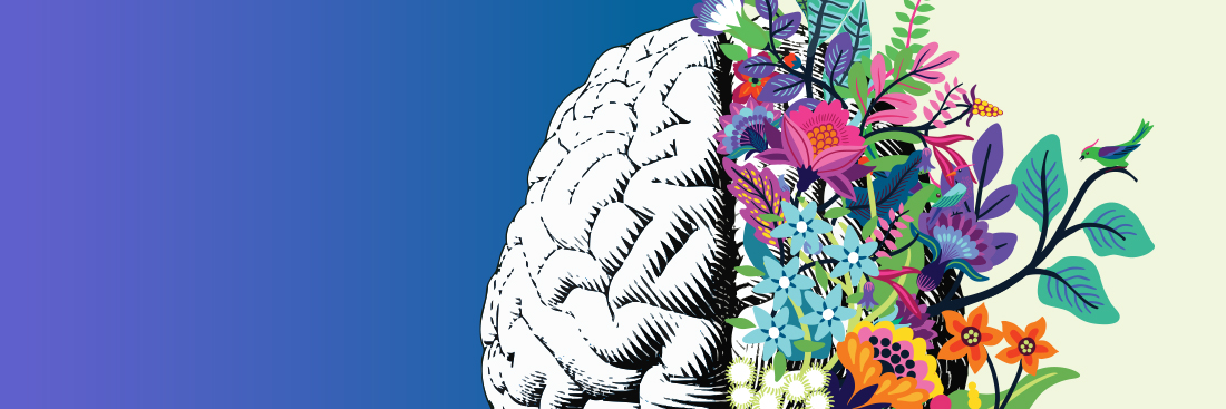 Positive Change Graphic image of brain and flowers