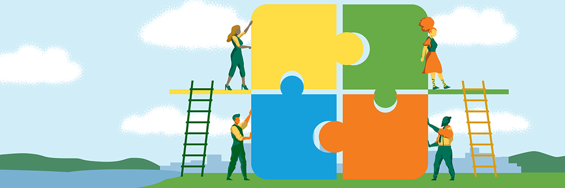 illustrated image of people with large puzzle pieces putting them together