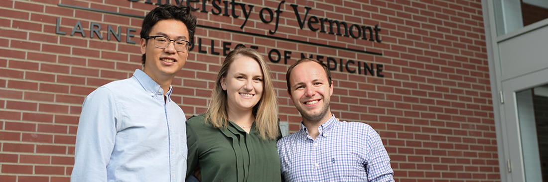(From left to right) Larner College of Medicine students Erik Zhang, Krisandra Kneer, and Tyler Harkness