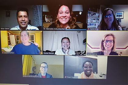 Partners in the Community Education Sessions on the COVID-19 Vaccine gather in Zoom session, including  Bidur Dahal, Dr. Avila; Dr. Pierce; Sara Chesbrough, Doma Sherpa, Ms. Vastine;Ms. Merdzanovic; and Ms. Ratsebe.